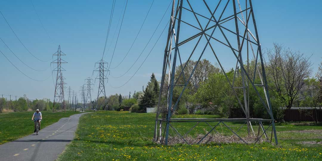power lines and riding a bike